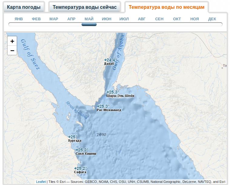 Температуры воды в Шарме в мае