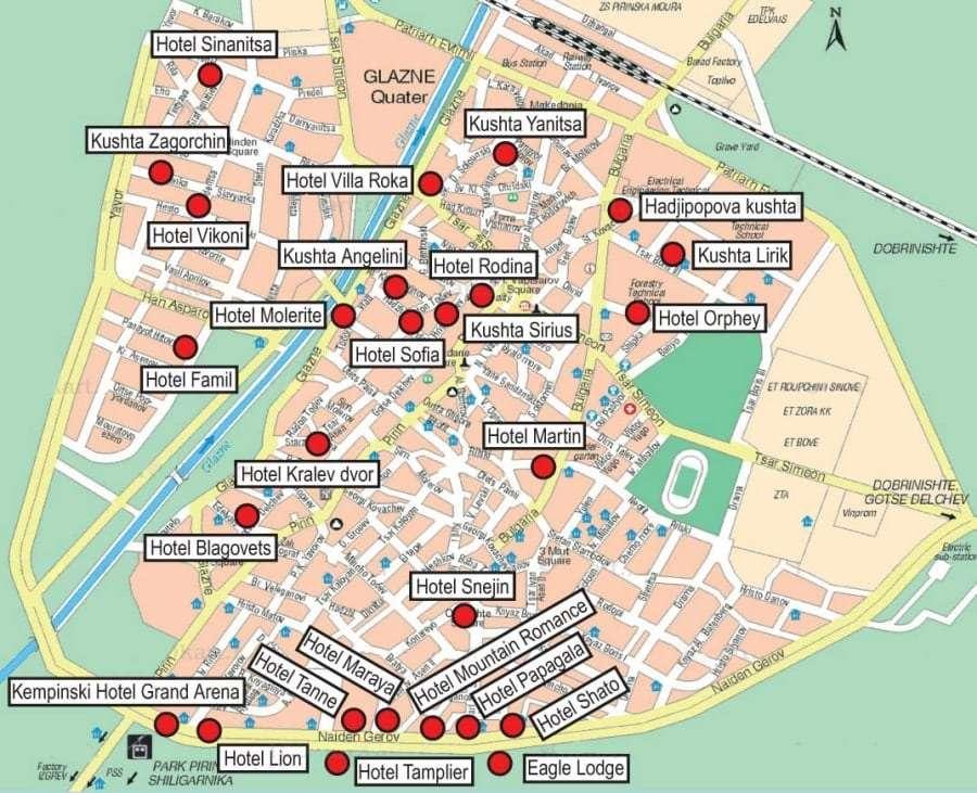 Банско: схема трасс и отелей
