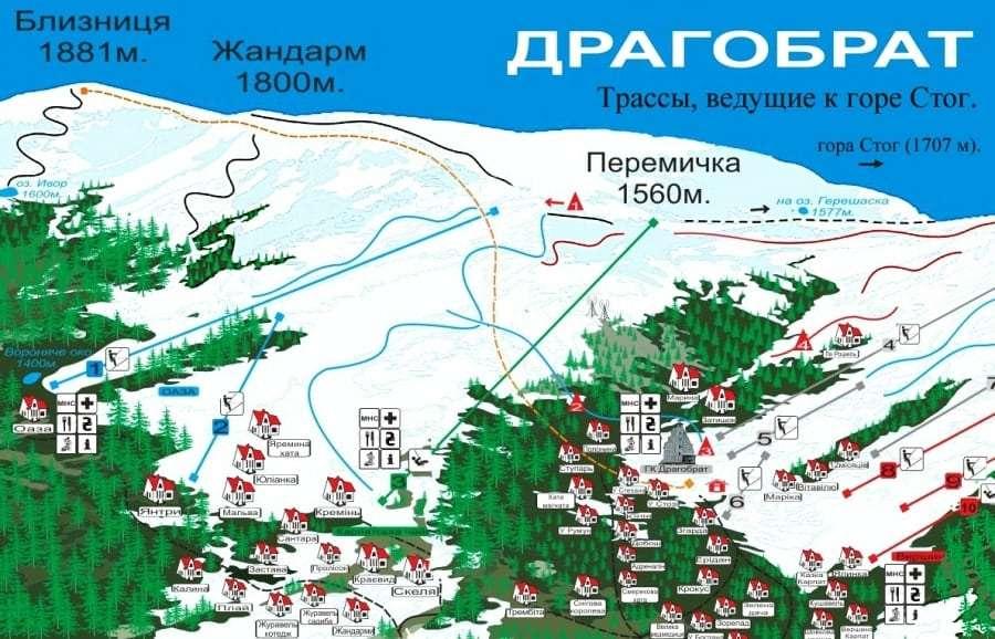Драгобрат: карта трасс