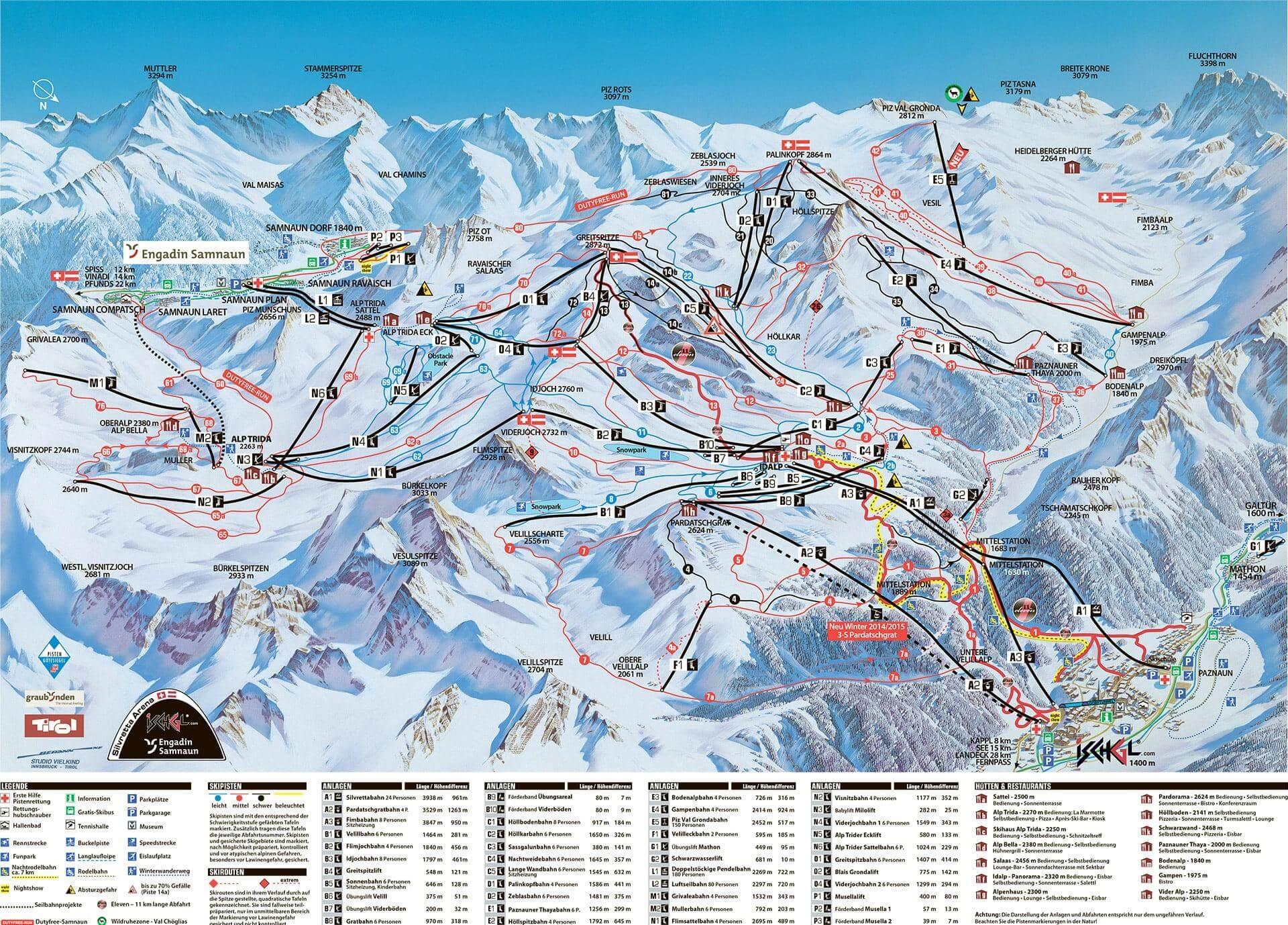 Схема спусков на горнолыжном курорте Ишгль, Австрия