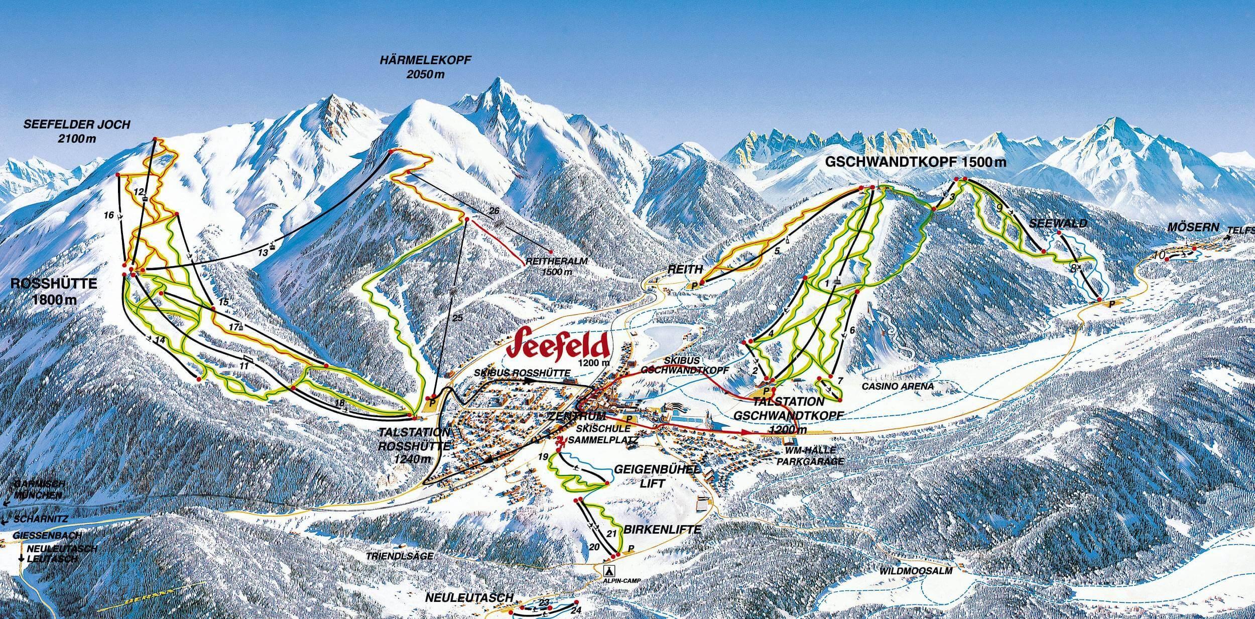 Карта горнолыжных трасс Зеефельд