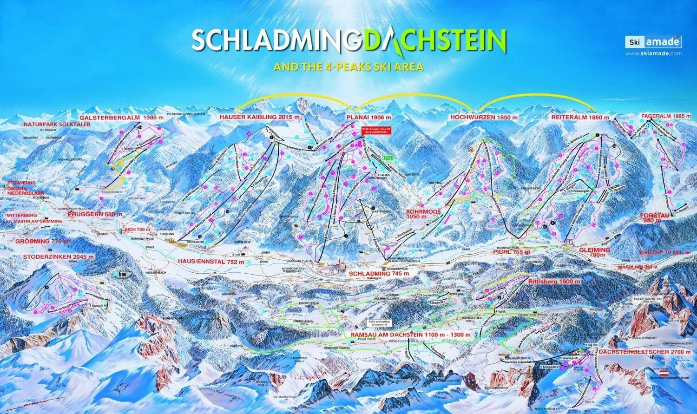 Карта горнолыжных спусков на курорте Шладминг