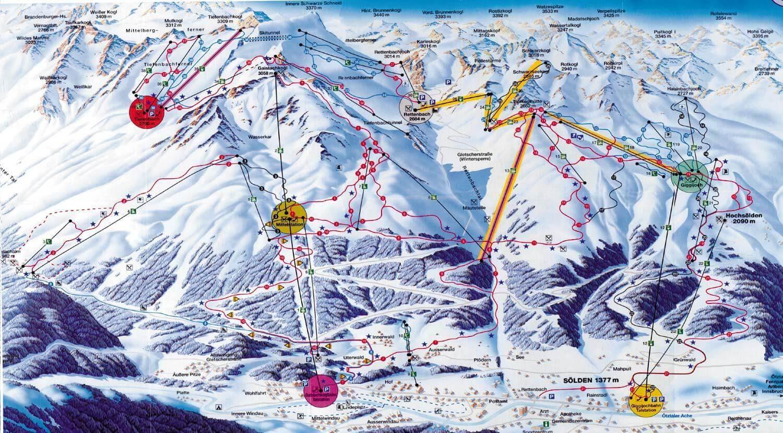 Карта горнолыжных трасс на курорте Зельден
