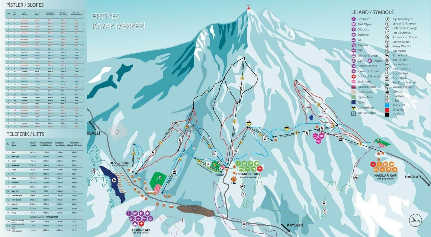 Схема трасс на горнолыжном курорте Турции Эрджиес