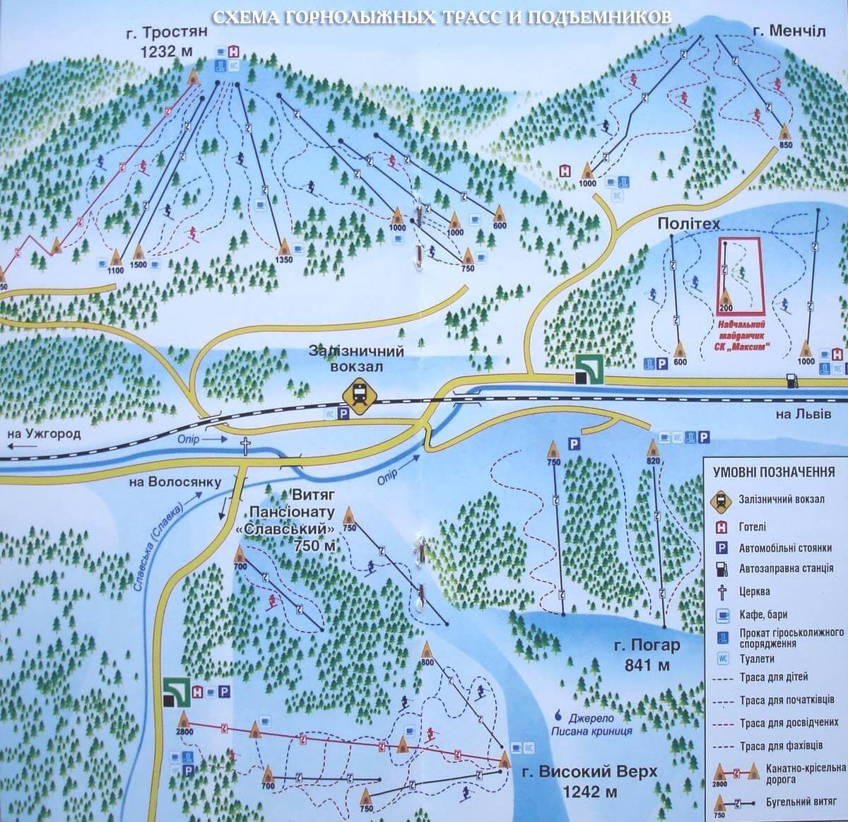 Схема лыжных спусков в Славском